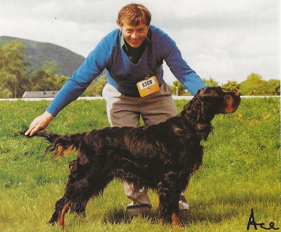 Man posing black and tan dog